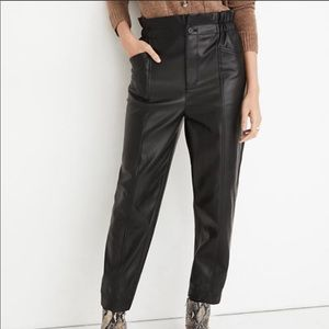 MADEWELL Faux Leather Paper Bag Pull On Pants